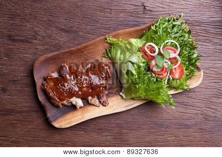 Fresh Ripe Roasted Meat With Sauce And Vegetable