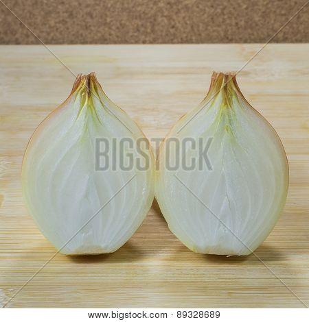 White Onion On Wood