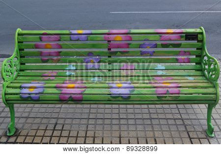 Painted Benches of Santiago in Las Condes, Santiago de Chile.