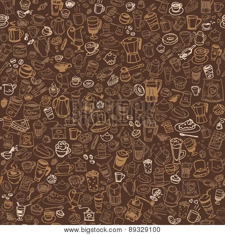 Doodle Coffee And Tea Seamless Background