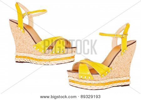 Ladies Yellow Wedge Platform Sandals, Isolated On White, Top View