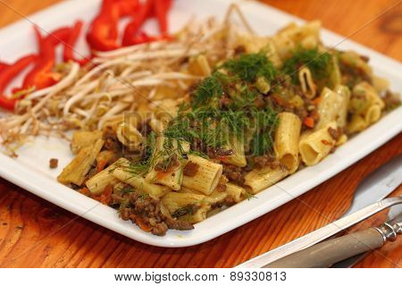 Paste With Meat And Vegetables Sauce