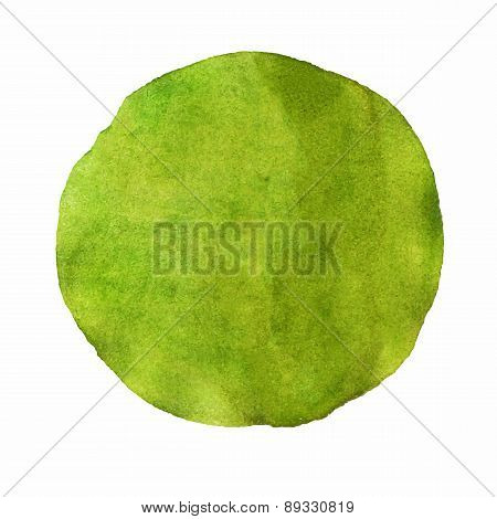 Abstract Green Watercolor Painted Circle Vector