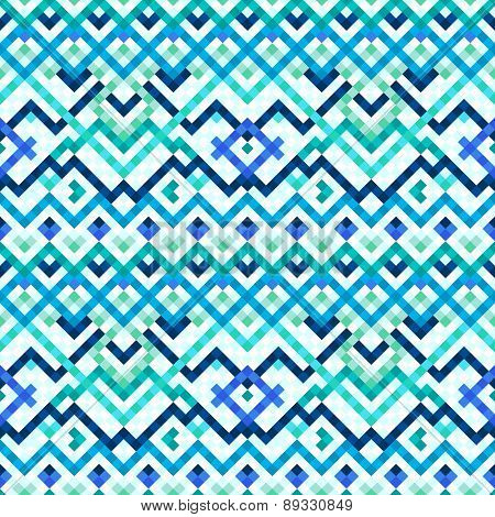 Colorful blue ethnic geometric mosaic tile seamless pattern, vector