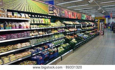 Supermarket refrigerators with food