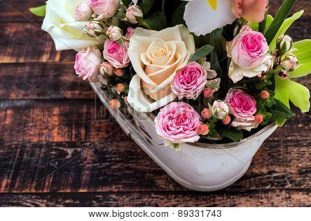 Vintage Flowers In Old Vase