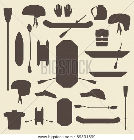 Rafting sport items silhouette icon set. Oar and paddle rafts. Cataraft and inflatable kayak.  . Pad
