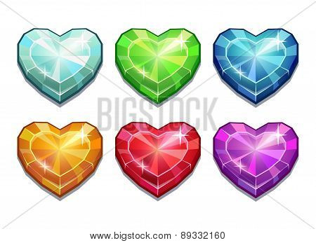 Set Of Crystal Hearts