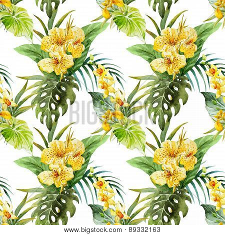 Watercolor canna flowers pattern