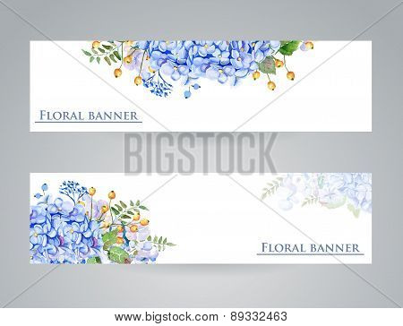 Two Banner With Blue Flowers
