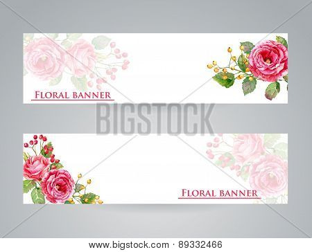 Two Banner With Red Flowers