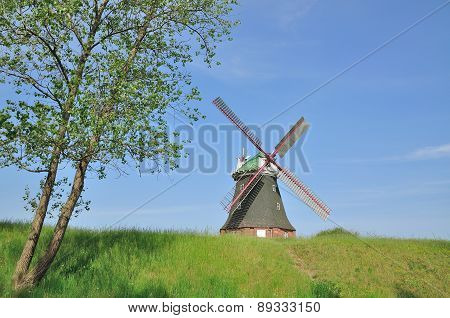 the Windmill of Stowe near Kuehlungsborn at Baltic Sea,Mecklenburg western Pomerania,Germany