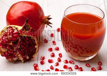 Glass of pomegranate juice