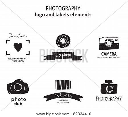 Set of vector photography vintage logos, labels, badges and icon