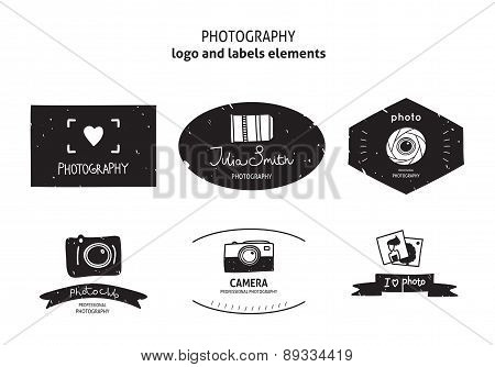 Vector collection of photography logo templates. Photography vintage badges, labels and icons.