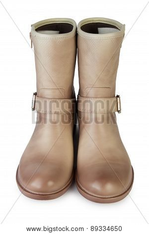 Female Brown Demi Boots. Front View