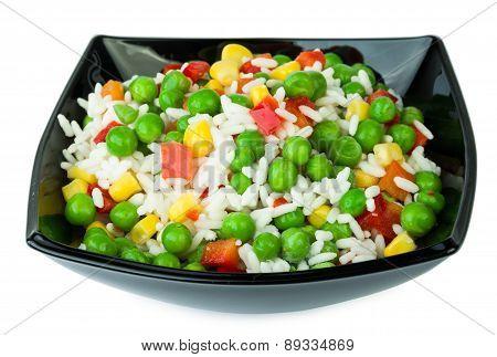 Vegetable Mix In Black Salad Bowl