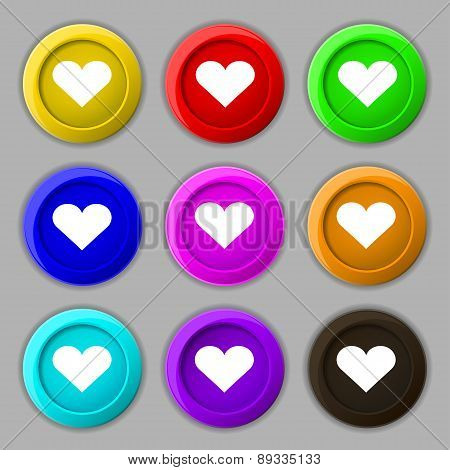 Heart, Love Icon Sign. Symbol On Nine Round Colourful Buttons. Vector