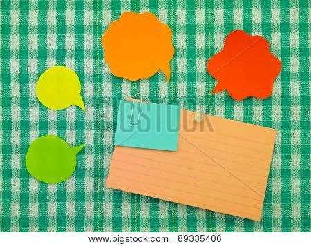 Colorful Balloons And Notes  (green Fabric Background)