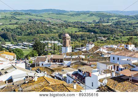 Roofs White Town In The Mountain, Jimena De La Frontera