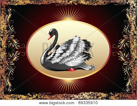 Elegant Black Swan With Golden Ornament