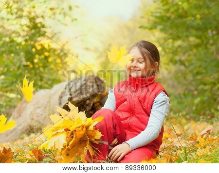 Girl  Falling  Maple Leaves
