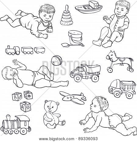 sketch of babies and toys