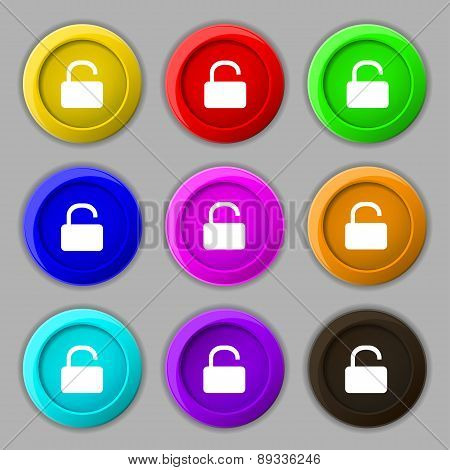 Open Padlock Icon Sign. Symbol On Nine Round Colourful Buttons. Vector