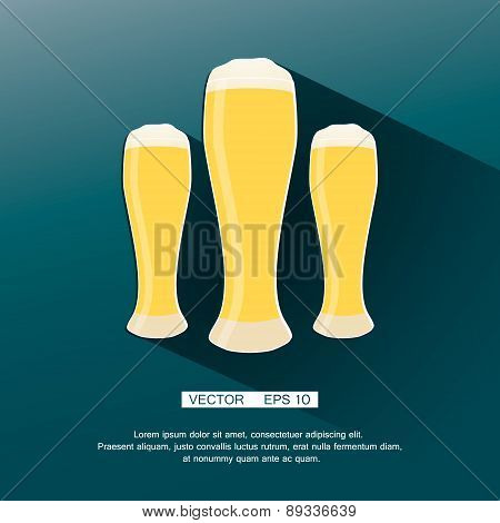 Beer icon in modern flat design with long shadow. Alcohol beverage drink symbol vintage style Eps10