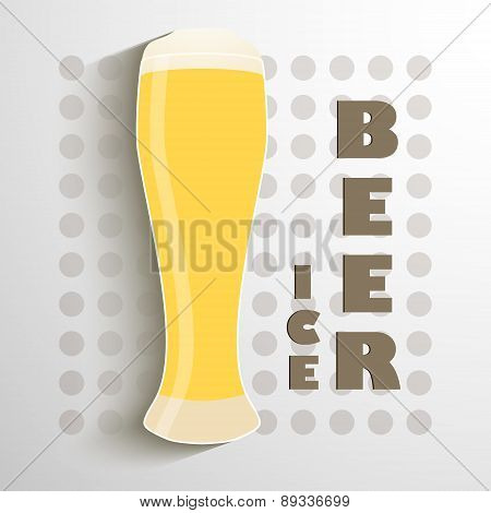 creative vector illustration with a glass of ice beer