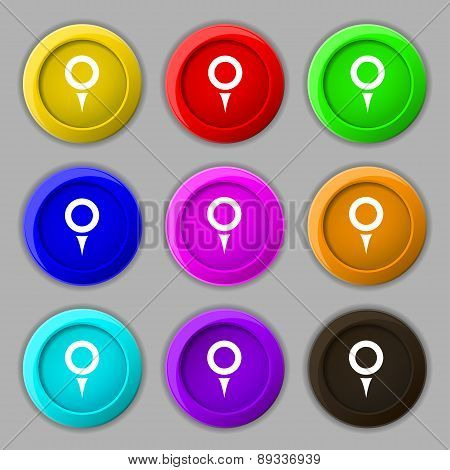 Map Pointer, Gps Location Icon Sign. Symbol On Nine Round Colourful Buttons. Vector