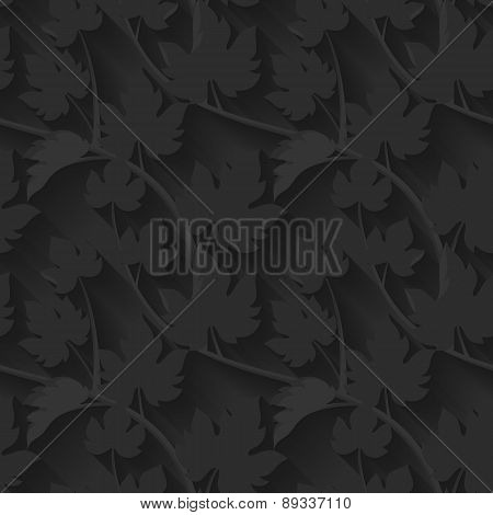 Black Vector seamless pattern with leaves and vine.