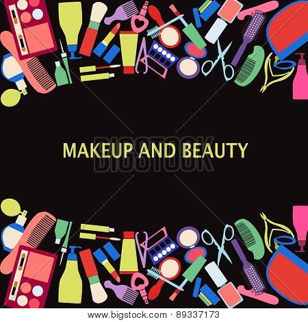Vector Background Of Makeup And Beauty Cosmetic Symbols.