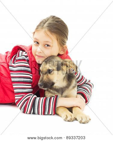 Girl And Puppy Mutts