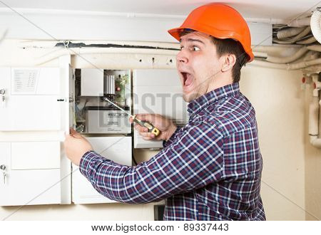 Handyman Being Hit By High Voltage While Repairing Transformer