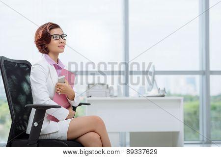 Dreamy business lady
