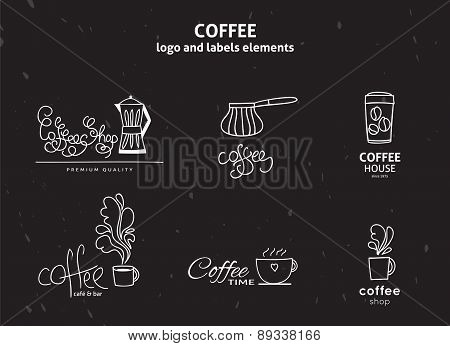 Vector set of coffee shop logos, coffee design elements with mugs and beans.