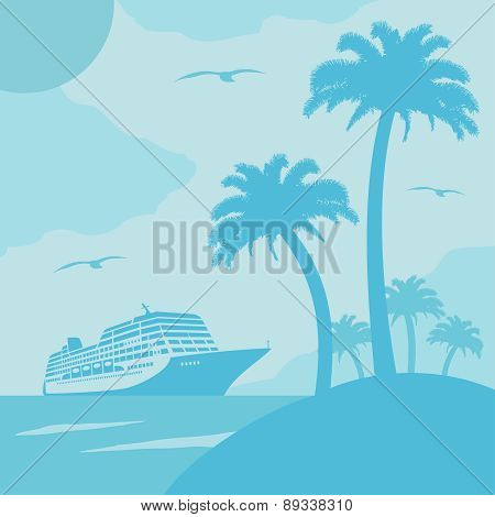 Summer background with ship