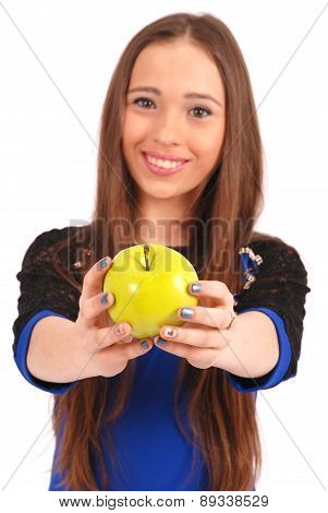 Young Girl Offering Viewer An Apple