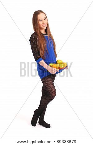 Young Girl With Fruit Gathered In Her Dress