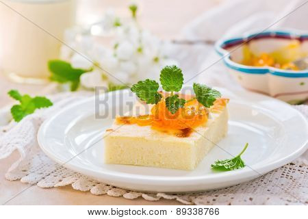 semolina pie   on a white plate