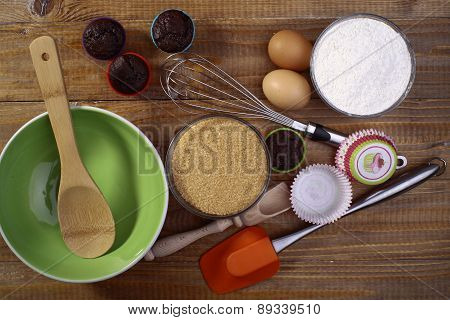 Ingredients And Appliances For Makeing Cupcakes