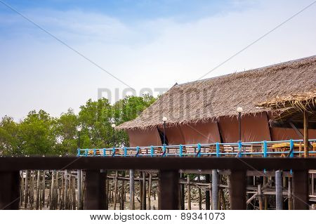 Walkway leading to over the water bungalows in thailand