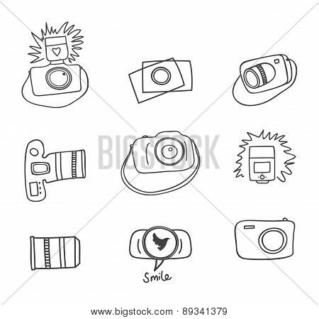 Set of vector photography doodle icon