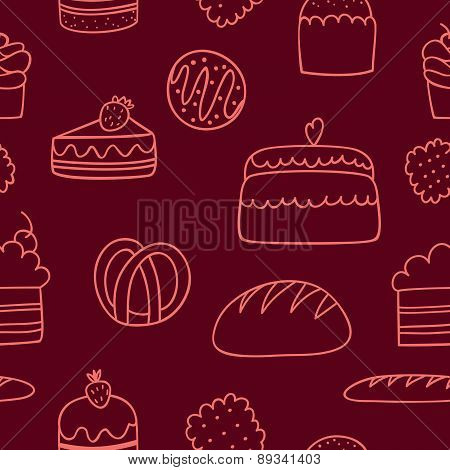 vector seamless pattern with bakery doodle icon