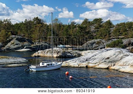 Small Yacht On The Coast In Norway