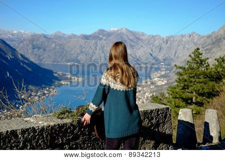Beautiful Girl Looks At The Bay Of Kotor Panorama