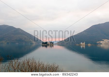 Seascape, Monastery On The Island In Perast