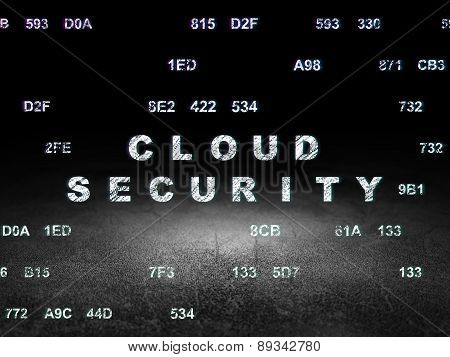 Protection concept: Cloud Security in grunge dark room