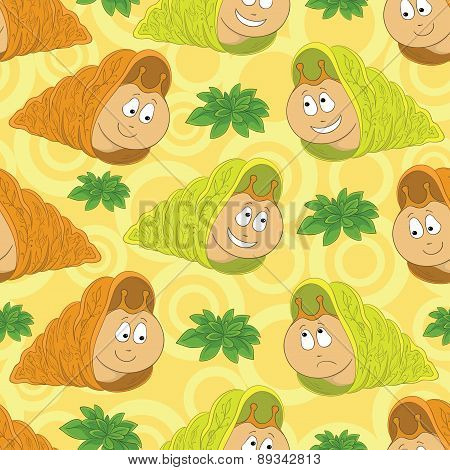 Seamless background, snails